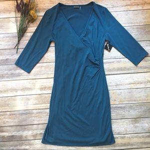 NWT ATHLETA Teal Long Sleeve V-neck Dress - Medium